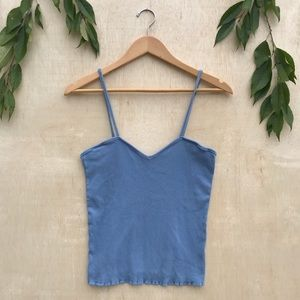 INC Ribbed Scalloped Baby Blue Tank Top